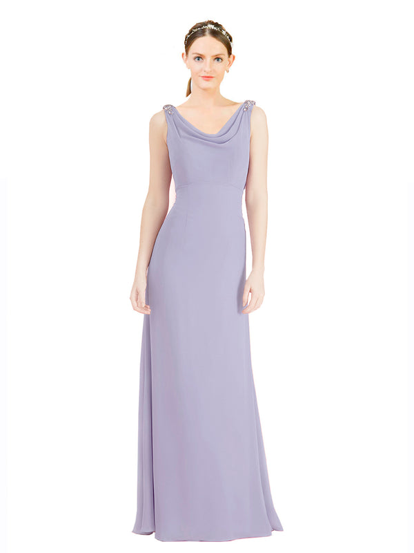 Mila Gowns Azariah Long A-Line Jewel Chiffon Lavender 24# Bridesmaid Dress 174330