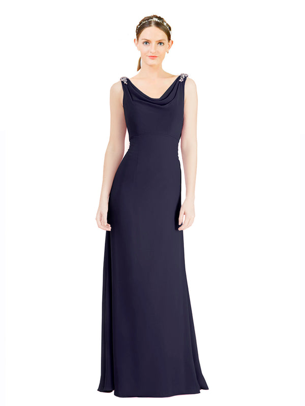 Mila Gowns Azariah Long A-Line Jewel Chiffon Navy Blue 100# Bridesmaid Dress 174330