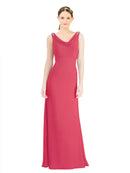 Mila Gowns Azariah Long A-Line Jewel Chiffon Peony Bridesmaid Dress 174330