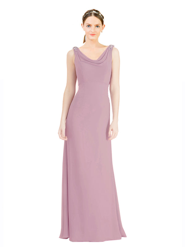 Mila Gowns Azariah Long A-Line Jewel Chiffon Pink 152# Bridesmaid Dress 174330