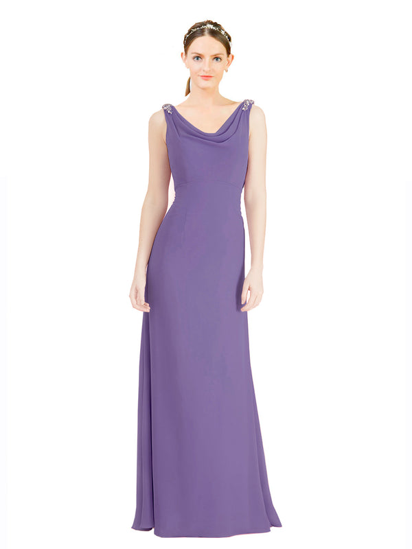 Mila Gowns Azariah Long A-Line Jewel Chiffon Purple 113# Bridesmaid Dress 174330