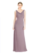 Mila Gowns Azariah Long A-Line Jewel Chiffon Purple 122# Bridesmaid Dress 174330