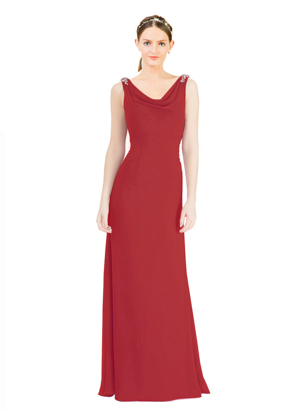 Mila Gowns Azariah Long A-Line Jewel Chiffon Red Bridesmaid Dress 174330