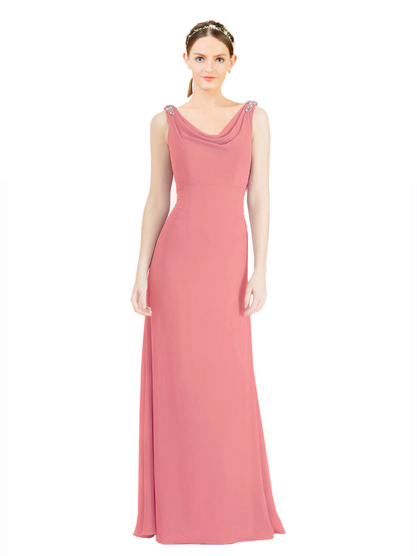 Mila Gowns Azariah Long A-Line Jewel Chiffon Watermelon Bridesmaid Dress 174330