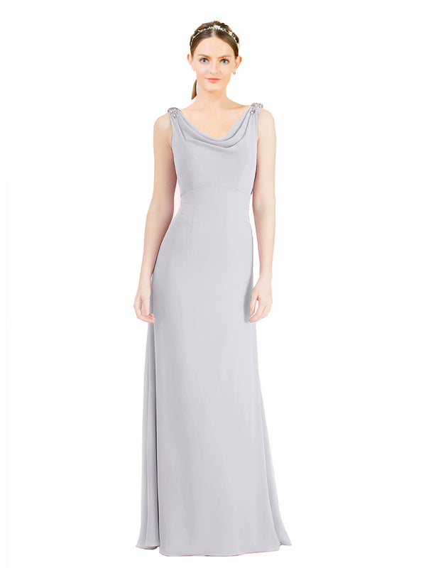Mila Gowns Azariah Long A-Line Jewel Chiffon White Bridesmaid Dress 174330