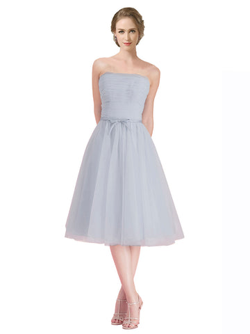 Mila Gowns Tinley Short A-Line Strapless Tulle Silver Bridesmaid Dress 174331