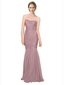 Mila Gowns Erica Long Mermaid Strapless Sweetheart Tulle Pink 18# Bridesmaid Dress 174337