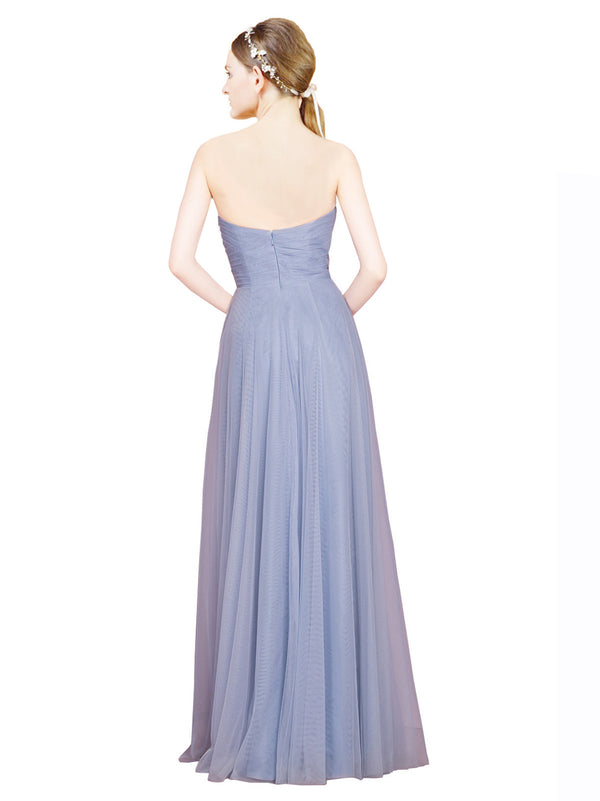 Mila Gowns Kallie Long A-Line Strapless Sweetheart Tulle Light Sky Blue Bridesmaid Dress 174341