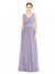 Mila Gowns Tinsley Long A-Line V-Neck Tulle Lilac Bridesmaid Dress 174344