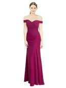 Mila Gowns Carolyn Long Mermaid Fit and Flare Off the Shoulder Chiffon Red 16# Bridesmaid Dress 174348