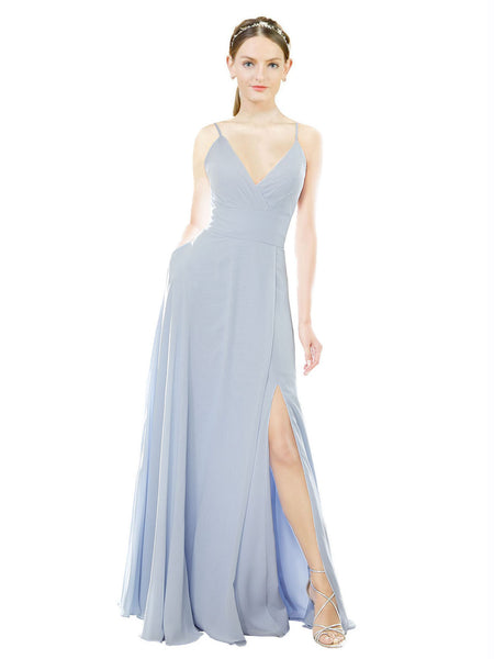 Mila Gowns Aniya Long A-Line V-Neck Spaghetti Straps Chiffon Light Sky Blue Bridesmaid Dress 174360