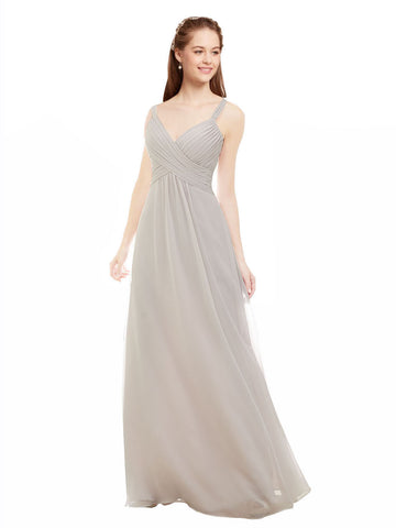 Mila Gowns Livia Long A-Line V-Neck Spaghetti Straps Chiffon Oyster Silver Bridesmaid Dress 174361