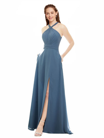 Mila Gowns Amiya Long A-Line High Neck Halter Chiffon Dusty Blue Bridesmaid Dress 174365