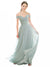 Mila Gowns Ellis Long A-Line Off The Shoulder Chiffon Lace Blue 65# Bridesmaid Dress 174366