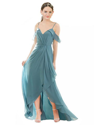 Mila Gowns Elora Long High Low A-Line V-Neck Chiffon Icelandic Silver Bridesmaid Dress 174367