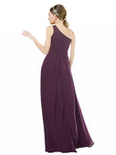 Mila Gowns Clementine Long A-Line One Shoulder Chiffon Grape Bridesmaid Dress 174371