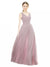 Mila Gowns Nola Long A-Line V-Neck Chiffon Pink 147# Bridesmaid Dress 174372