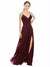 Mila Gowns Martha Long A-Line V-Neck Spaghetti Straps Chiffon Lace Burgundy Bridesmaid Dress 174378