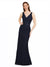 Mila Gowns Noemi Long Sheath V-Neck Lace Dark Navy Bridesmaid Dress 174380