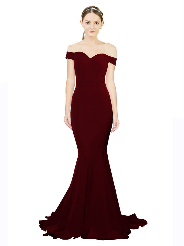 Mila Gowns Judith Long Mermaid Off the Shoulder Crepe Wild Berry Bridesmaid Dress 174387