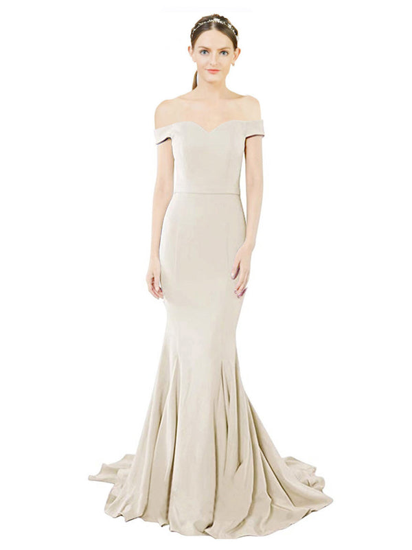 Mila Gowns Judith Long Mermaid Off the Shoulder Crepe White Bridesmaid Dress 174387