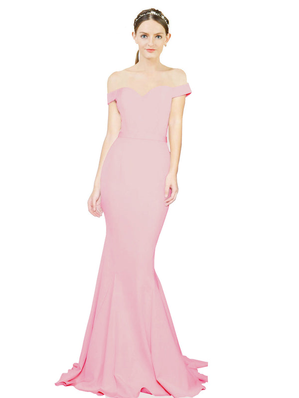 Mila Gowns Judith Long Mermaid Off the Shoulder Crepe Hot Pink Bridesmaid Dress 174387