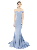Mila Gowns Judith Long Mermaid Off the Shoulder Crepe Royal Blue Bridesmaid Dress 174387