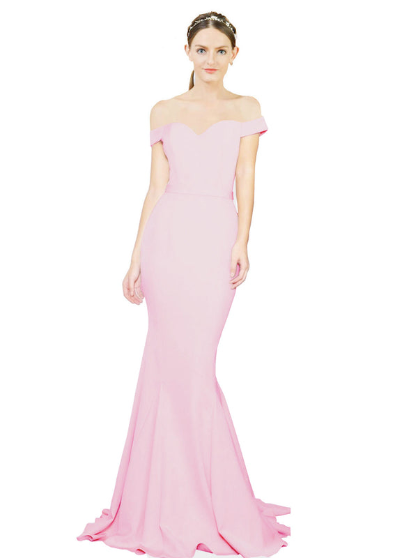 Mila Gowns Judith Long Mermaid Off the Shoulder Crepe Ice Pink Bridesmaid Dress 174387