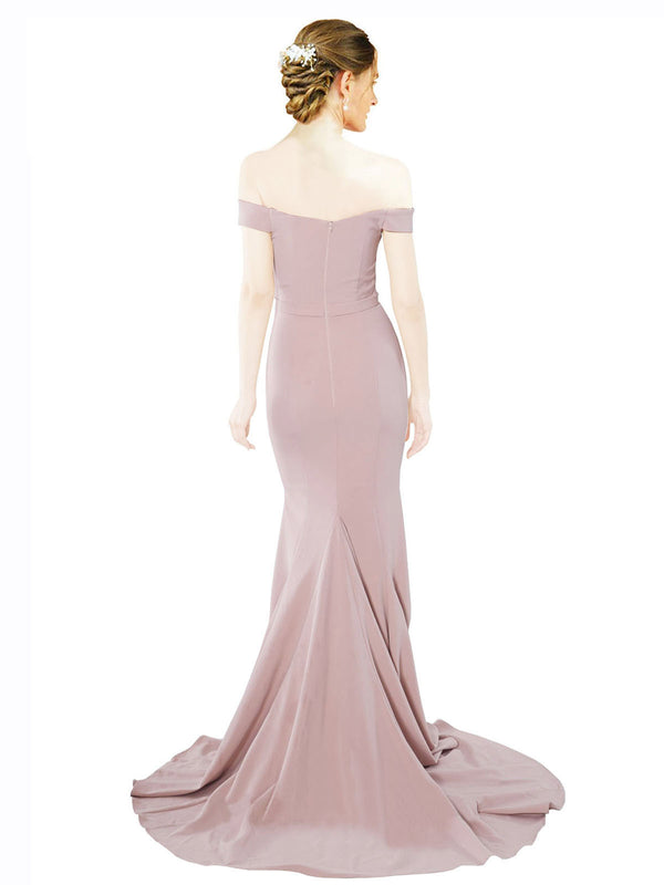 Mila Gowns Judith Long Mermaid Off the Shoulder Crepe Pink Bridesmaid Dress 174387