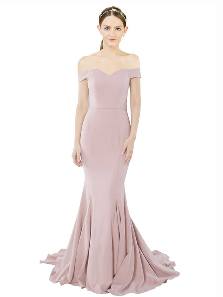 Mila Gowns Judith Long Mermaid Off the Shoulder Crepe Dusty Pink Bridesmaid Dress 174387