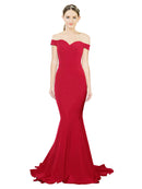 Mila Gowns Judith Long Mermaid Off the Shoulder Crepe Burgundy Gold Bridesmaid Dress 174387