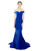 Mila Gowns Judith Long Mermaid Off the Shoulder Crepe Dark Navy Bridesmaid Dress 174387