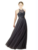 Mila Gowns Long  Meilani A-Line Illusion Neckline Slate Grey Bridesmaid Dress