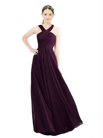 Mila Gowns Long  Alannah A-Line Halter Grape Bridesmaid Dress