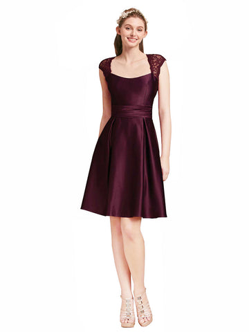 Mila Gowns Short Brenda Grape Bridesmaid Dress