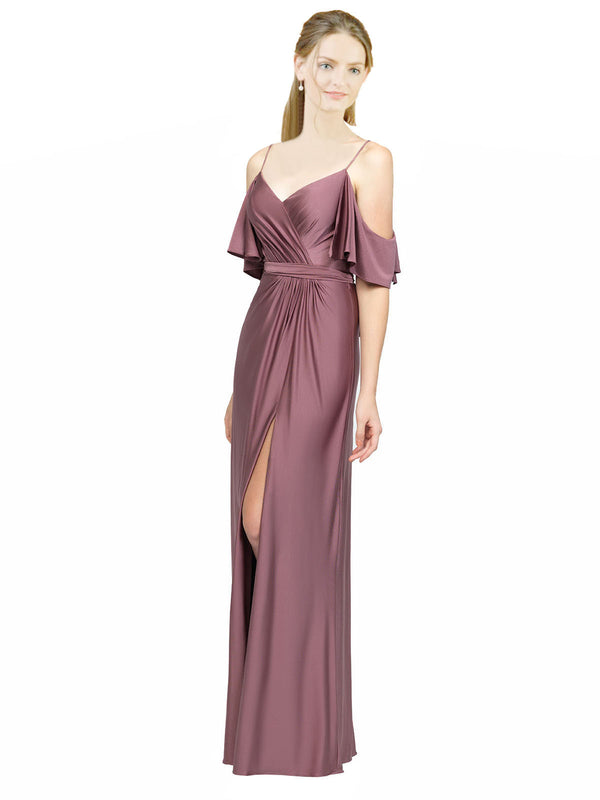 Mila Gowns Long Annalee Sheath Off the Shoulder Brown 40# Bridesmaid Dress