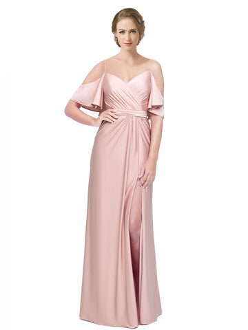 Mila Gowns Long Annalee Sheath Off the Shoulder Pink 101# Bridesmaid Dress