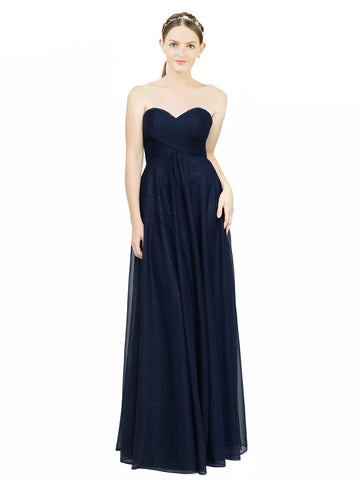 Mila Gowns Long Malani A-Line Strapless and Sweetheart Dark Navy Bridesmaid Dress