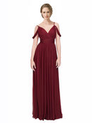 Mila Gowns Long Aliya A-Line Off the Shoulder and Spaghetti Straps Burgundy Bridesmaid Dress