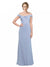Mila Gowns Long Nataly A-Line Off the Shoulder and Spaghetti Straps and Bateau Periwinkle Bridesmaid Dress