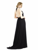 Mila Gowns Long Maliah A-Line Halter Black Bridesmaid Dress