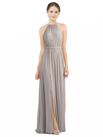 Mila Gowns Long Maliah A-Line Halter Oyster Silver Bridesmaid Dress