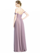 Mila Gowns Long Breanna A-Line Sweetheart and Spaghetti Straps and Off the Shoulder Dark Lavender Bridesmaid Dress