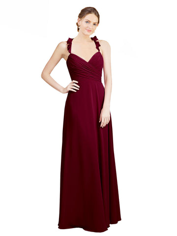 Mila Gowns Long Dana A-Line Sweetheart Burgundy Bridesmaid Dress