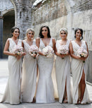 Mila Gowns Carla Bridesmaid Dress A-Line Princess V-Neck Sleeveless Long Chiffon Bridesmaid Dress Carla with High Slit in Front