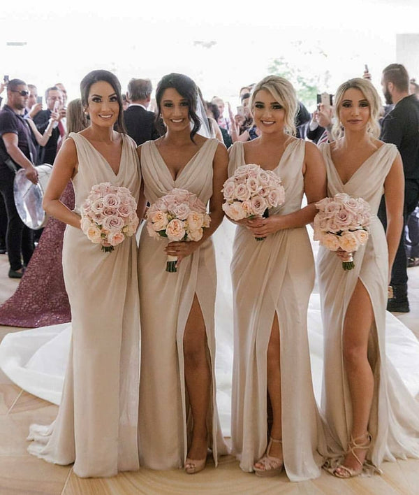 Mila Gowns Carla Bridesmaid Dress Champagne A-Line Princess V-Neck Sleeveless Long Chiffon Bridesmaid Dress Carla with High Slit in Front