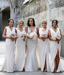 Mila Gowns Carla Bridesmaid Dress Ivory 90# A-Line Princess V-Neck Sleeveless Long Chiffon Bridesmaid Dress Carla with High Slit in Front