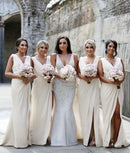 Mila Gowns Carla Bridesmaid Dress Ivory 91# A-Line Princess V-Neck Sleeveless Long Chiffon Bridesmaid Dress Carla with High Slit in Front
