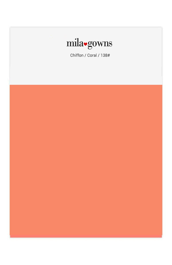 Mila Gowns Chiffon Color Swatches - Coral