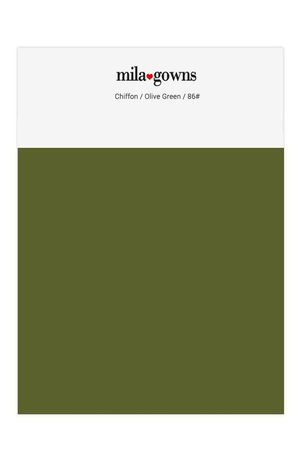 Mila Gowns Chiffon Color Swatches - Olive Green